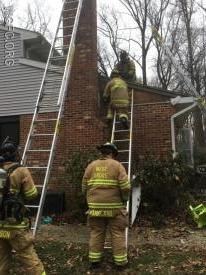 Ground ladders and the aerial of Ladder 22 were used to investigate this reported chimney fire