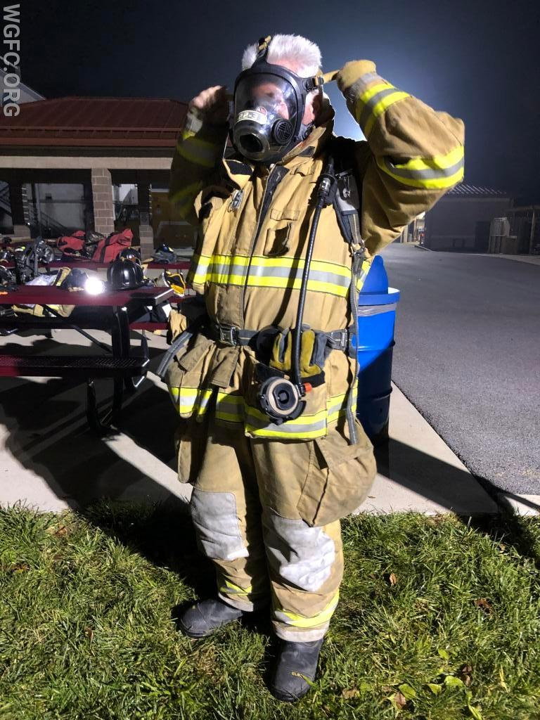 Facemask from the Self-Contained Breathing Apparatus (SCBA) is next