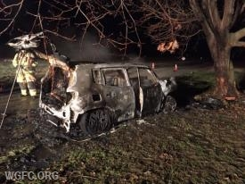 A car crashed into a tree and burst into flames along Baker Road in Penn Township.  There were no injuries at the scene.