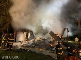 The garage had collapsed on arrival of WGFC units.