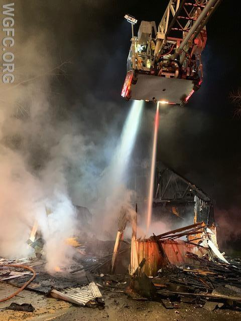 A large, two-story garage was destroyed in a fire in Elkton, Maryland.  WGFC assisted with two engines.
