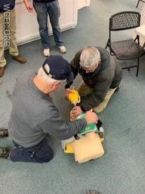 Participants worked in teams of two to use the Lucas device (for automatic CPR) while also showing skills with breathing techniques.
