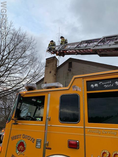 WGFC crews attend to the second chimney fire in New London in less than a week.  Regular chimney maintenance is critical.