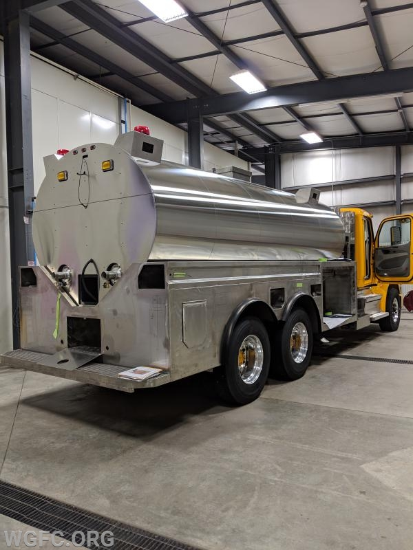The truck features a 3500 gallon elliptical tank.