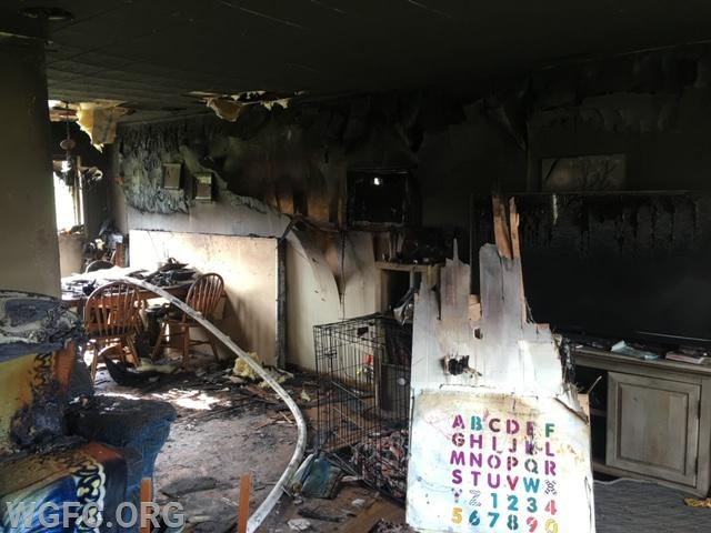 Heat and smoke damage are evident in this interior photograph, with no reported injuries