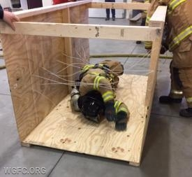 Firefighter working through the entanglement prop