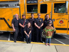 That's a thumbs up from Riley Jadick of Landenberg, as she returns to the AG Charter School after a year-long battle with cancer.  Waiting for her was Ladder 22 and her own WGFC helmet!