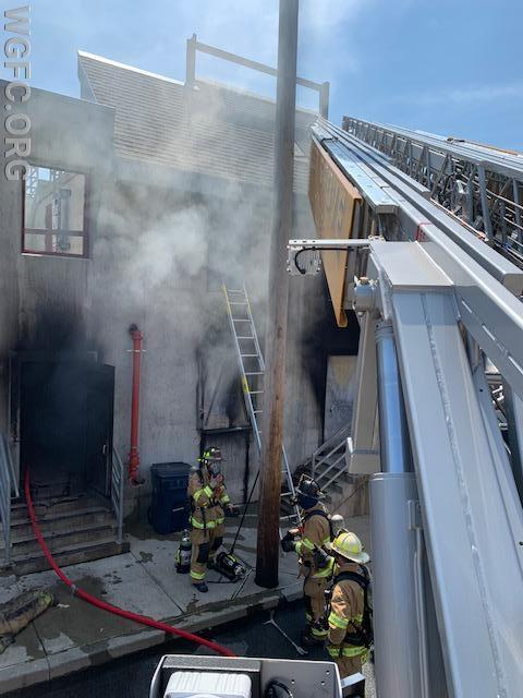 The view of the fire scene from Ladder 22