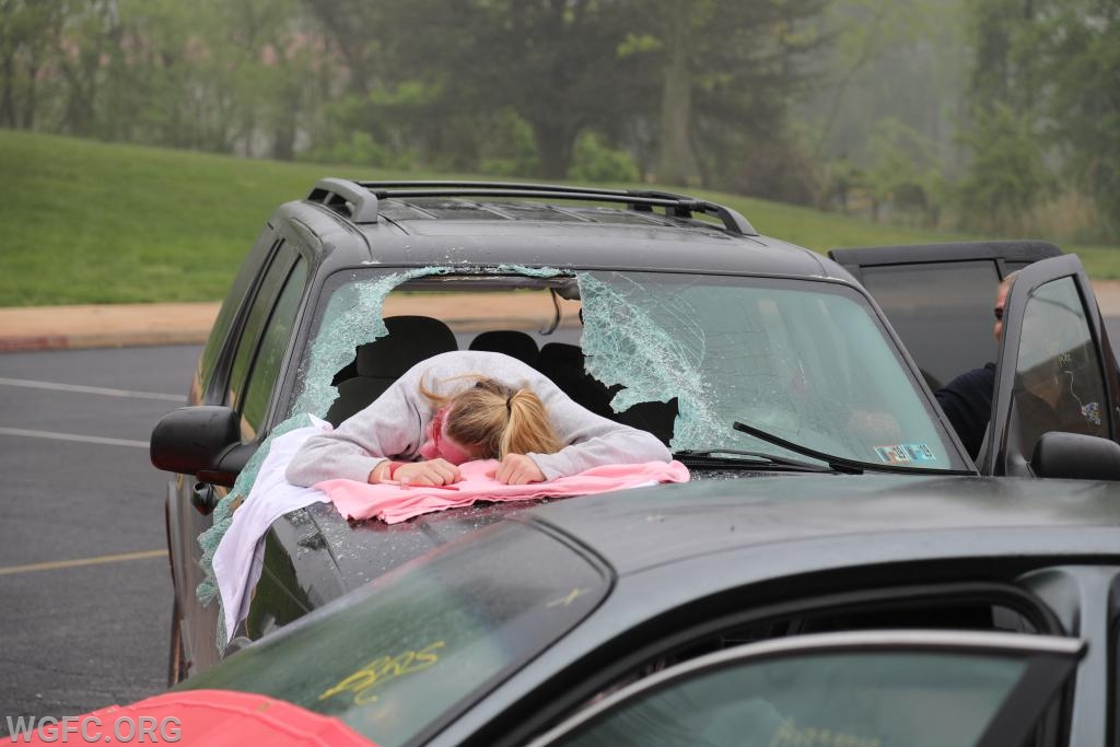 Once the scene is set, the seriousness of the mock crash can be seen in this photo, with a volunteer victim through the windshield