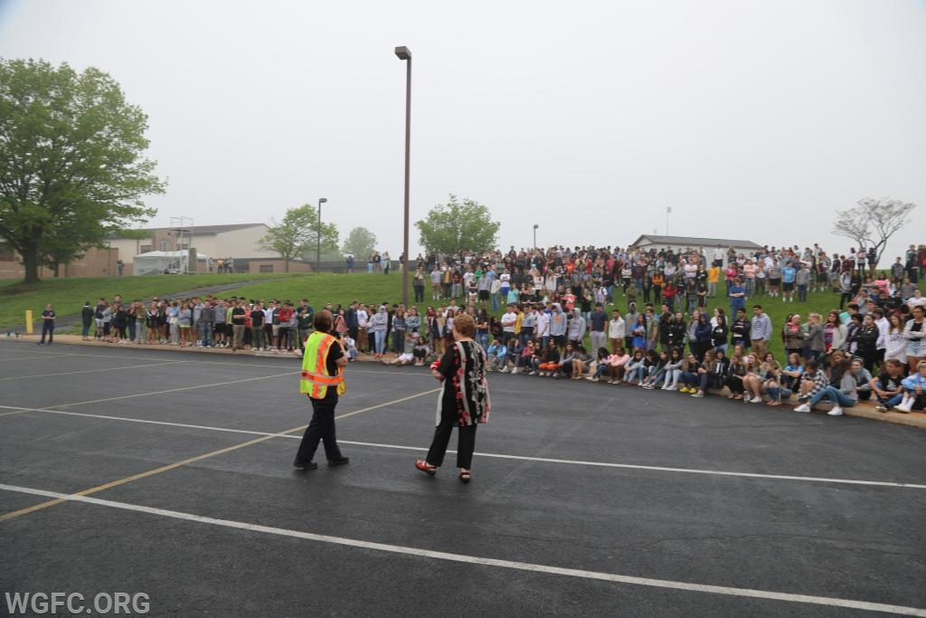 Announcer Lisa Glass talks to the many students who assembled to witness the mock crash