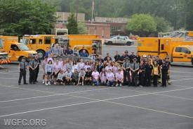 School volunteers, WGFC participants, student volunteers, EMS personnel and members of the State Police pose after a successful 2019 Mock Crash for the Avon Grove High School