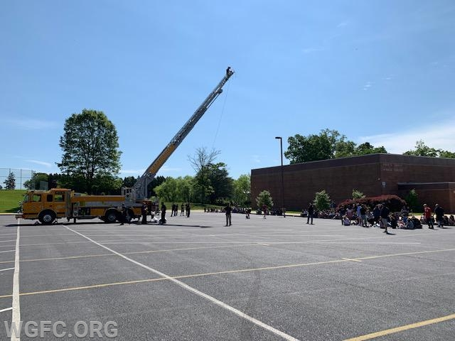 Ladder 22 at the annual Egg Drop at the AG Middle School, as student projects tested how to prevent an egg from breaking after a fall of 75 feet.