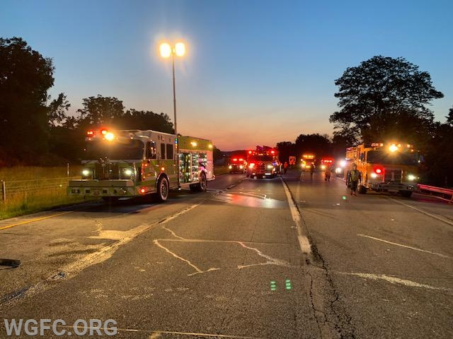As the sun starts to come up, the full extend of the response of emergency vehicles becomes apparent