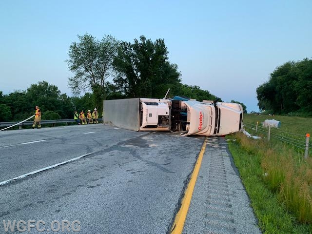 This was the view on arrival of Engine 1, with only one truck visible on its side.  The second tractor trailer became visible after a full walk around of the sce