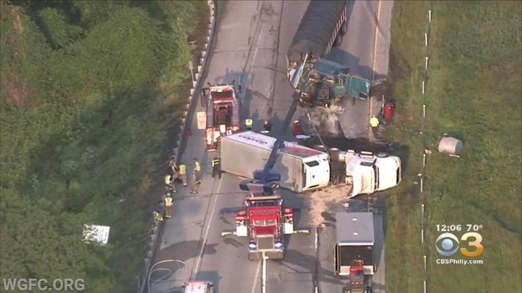 The WGFC handled a crash involving two tractor trailers that closed Route 1 for 7 hours, extricating one driver who was trapped in his truck cab