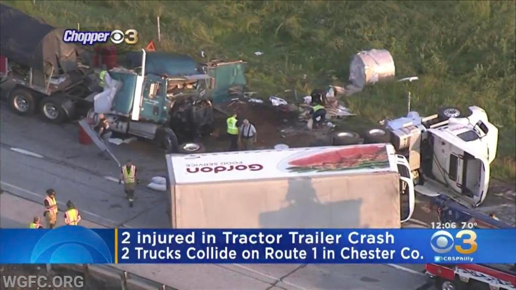 In this photo from Chopper 3, the two trucks have been separated by the towing company, as the clean up begins