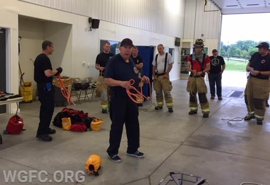 Instructor Galloway conducting the fire service knot review.