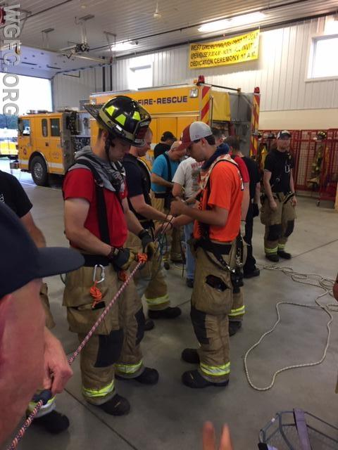 WGFC members participating in a Rope Rescue Training at Station 222 in London Britain Township.