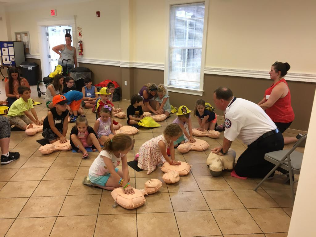 "SCCEMS Chief Hotchkiss reviewing Hands only CPR to the Tune of ""Baby Shark"""