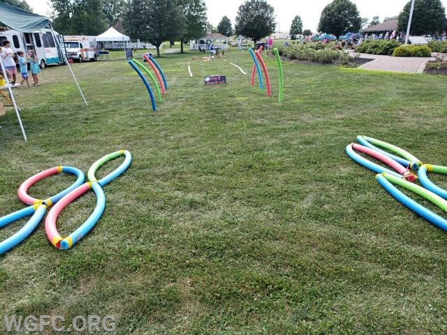 "Children navigated this obstacle course to experience ""Stop, Drop & Roll"""