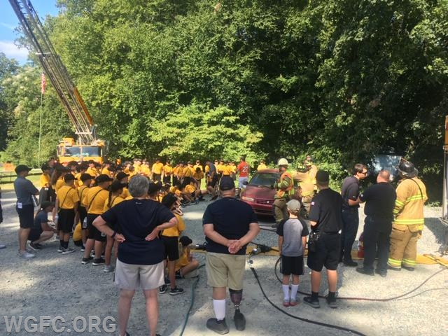 Crews from Rescue 22 and Ladder 22 demonstrate vehicle rescue as part of the PA State Police Camp Cadet Program