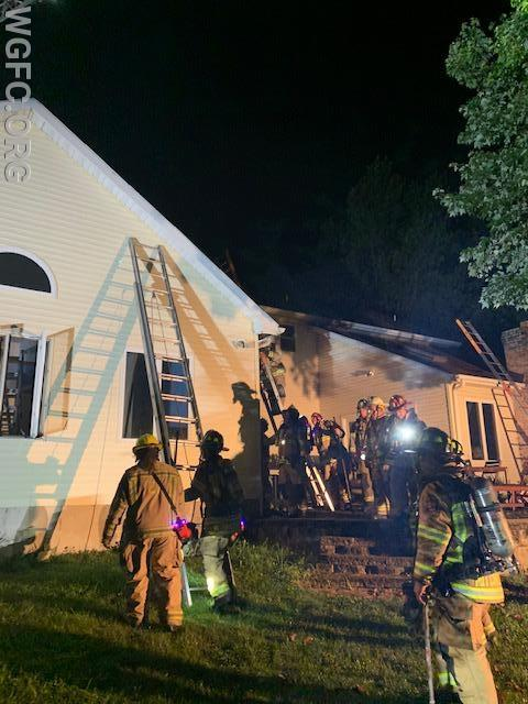 Crews on the back or C side of the residence