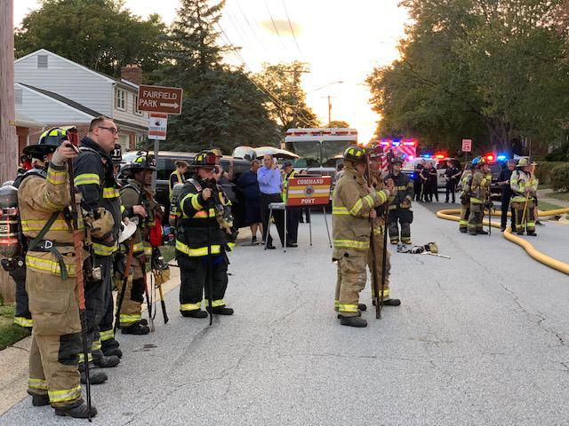 Firefighters await orders at the Command Post.