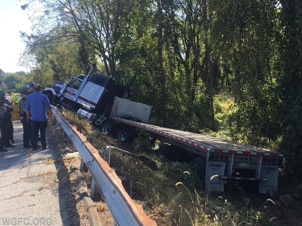This tractor trailer accident on Route 1 created a fuel spill and traffic problem mid-morning.