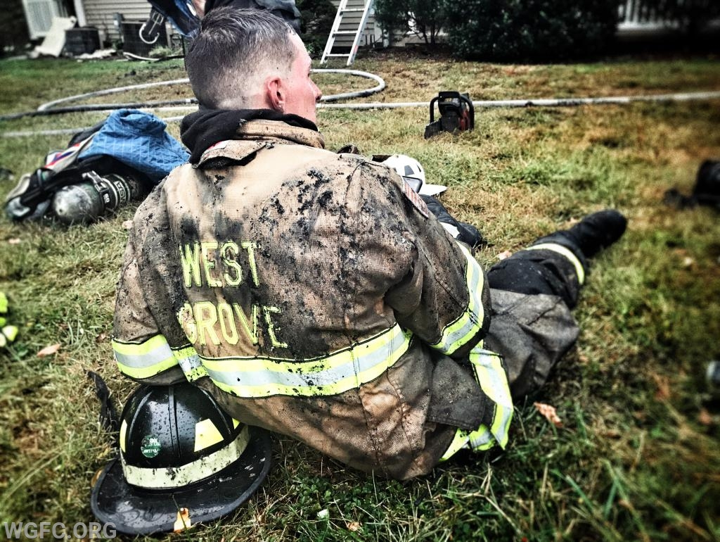 WGFC's Matt Glass recovers after the initial fire fight