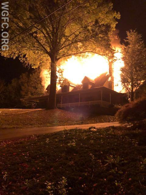 Arrival photo from WGFC Engine 1 shows a large volume of fire at a home on Old Schoolhouse Road in Franklin Township.