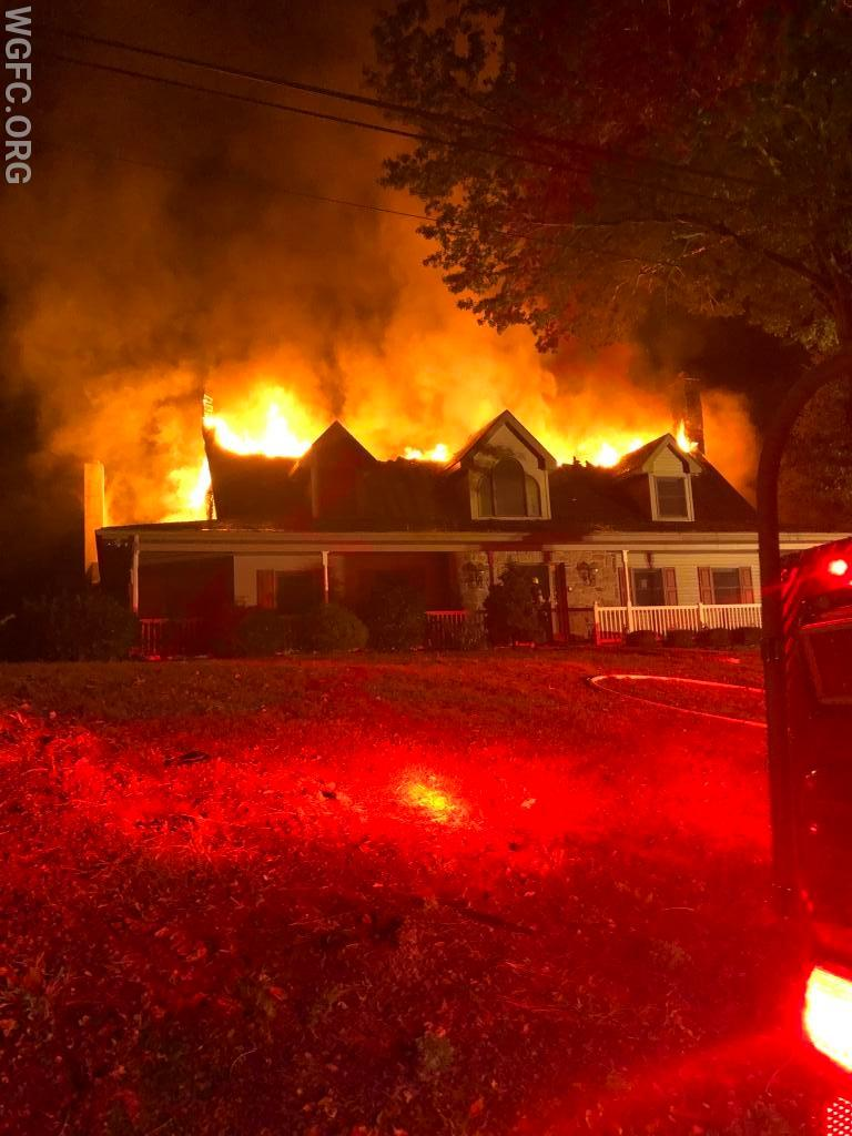 Fire though the roof on arrival of WGFC firefighters