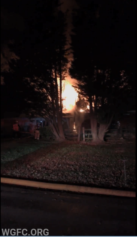 Fire showing an arrival from the north side or B side