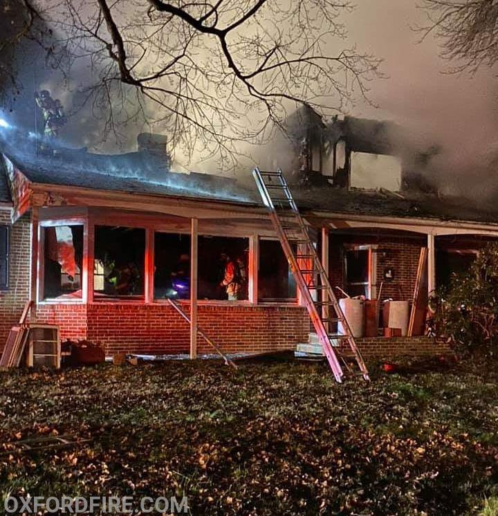 Extensive damage to the second floor and roof can be seen in this image  (thanks to the Oxford Fire Company for some images)