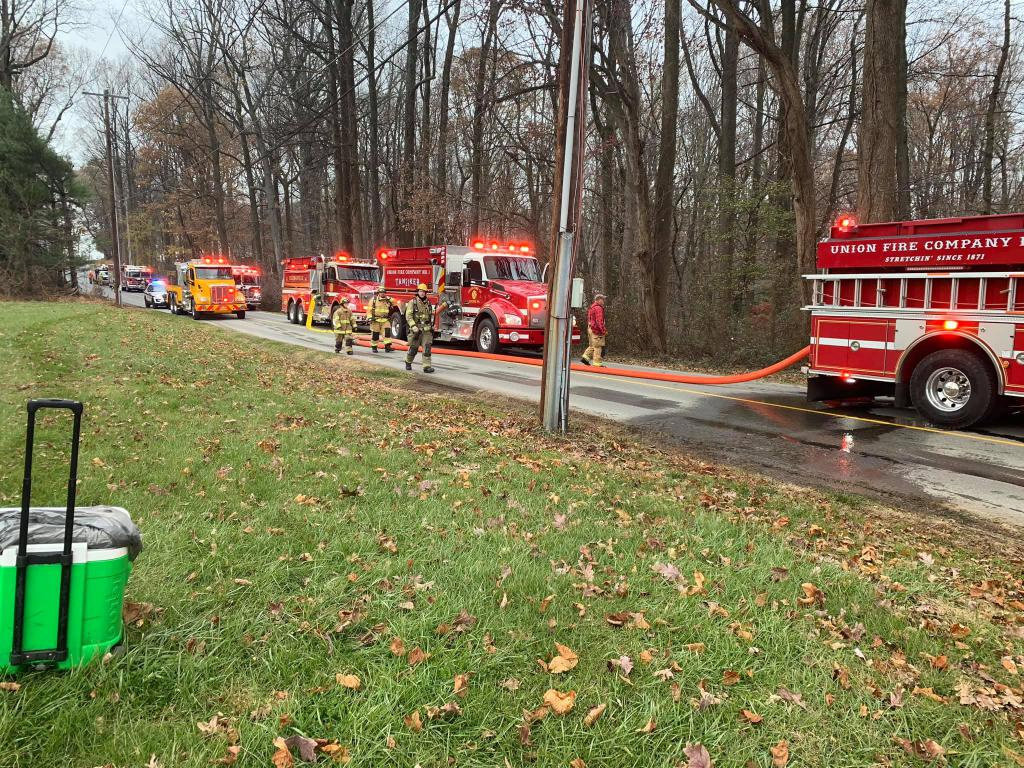 Tanker 22 is in line to supply water to the fire scene