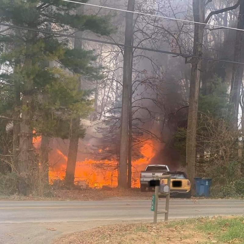 The WGFC was called to assist Oxford at this 1-1/2 story log cabin fire in Lower Oxford Township.  This photo on arrival shows the large volume of fire.