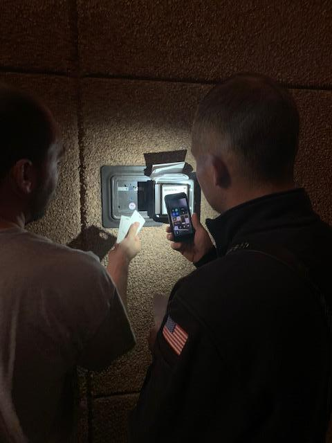 Part of the tour included examining the contents of the Knox Box.  Knox Boxes provide secure access to building information needed in an emergency.