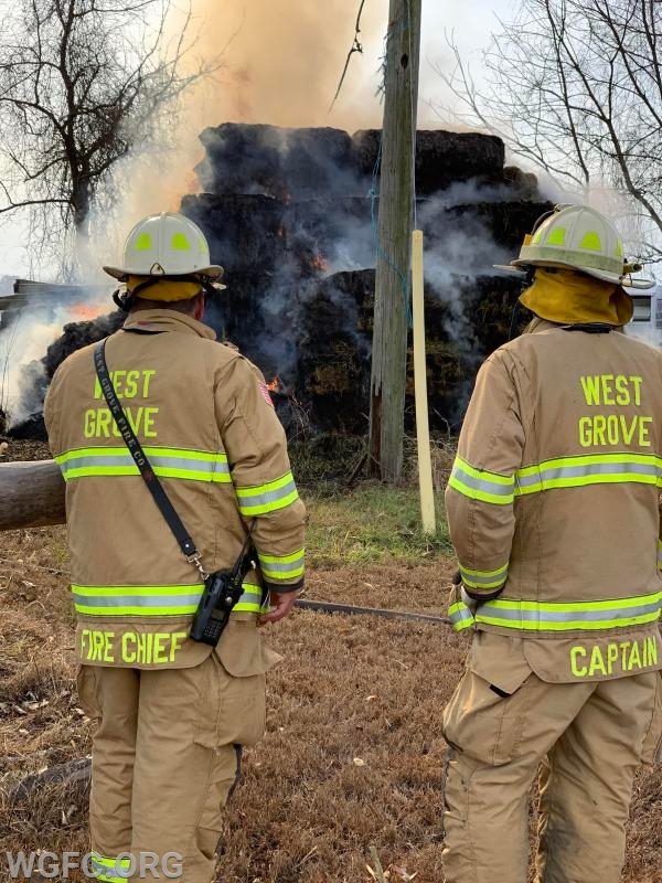 Chief Justin Gattorno and Captain Tony Gialloreto build out a game plan early in the fire fight.