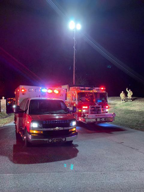 Rescue 27 (Cochranville) lights up the scene