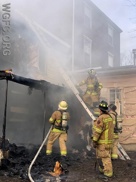 Crews operate in the rear where most of the fire was located