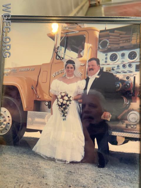 Tanker 22 proudly served the community for nearly 30 years.  It also served in parades and even weddings -- shown here at the wedding of WGFC's Engineer Lary Hicks and his lovely bride Geri nearly 25 years ago.
