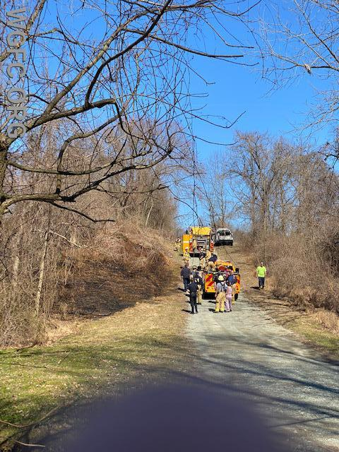 Brush fire along a driveway on Good Hope Road in London Britain Township