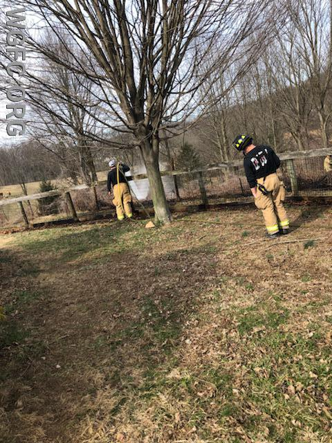 Crews work near Church Hill Road in Franklin Township