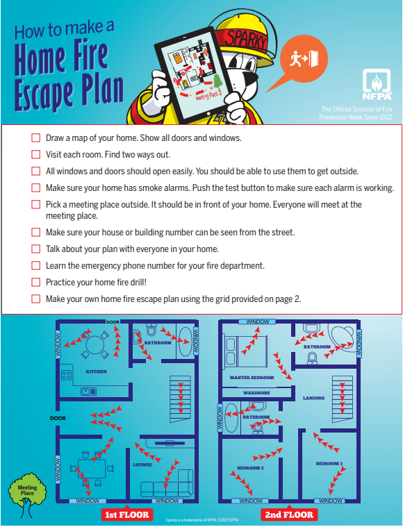 Plan a home fire escape plan today!