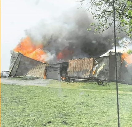 Arriving units found a well-involved barn on fire Tuesday near Peach Bottom, PA.  The WGFC assisted with an engine.