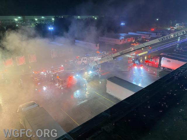Ladder trucks from Elkton and West Grove have the roof, with fire engines below.
