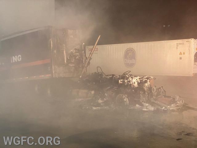 This tractor trailer burned at a large warehouse facility.