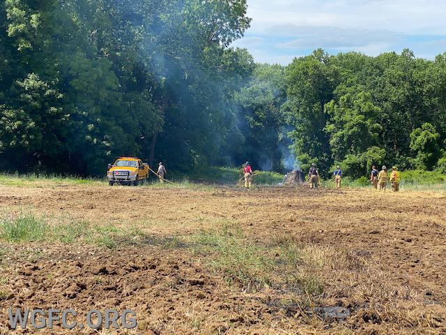 WGFC crews handled a controlled burn that spread across a field in New London.  Brush 22 is seen back in the field as crews finish extinguishment.