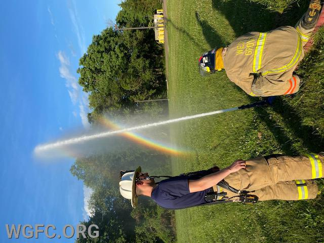 Creating rainbows?  Not really -- just training the next generation of fire fighters.