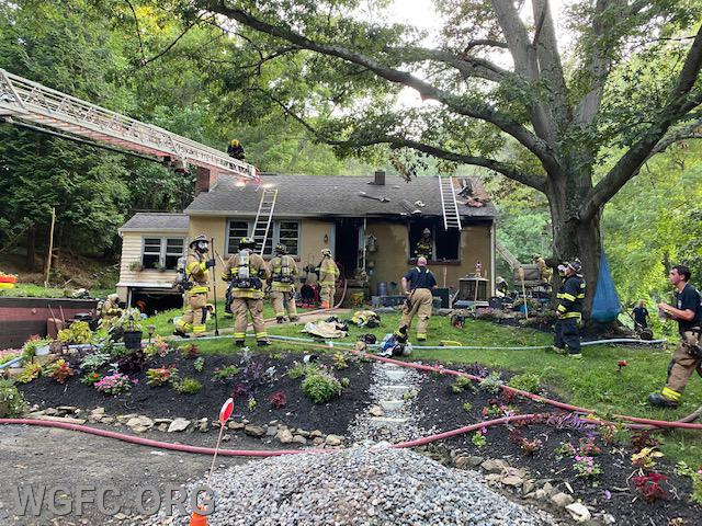 This house on Watson Mill Road in New Garden Township was the scene of a fire on a hot and steamy Sunday evening.  WGFC crews assisted Avondale Fire Company, with four other fire companies involved.