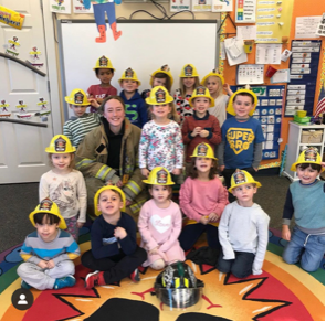 Teaching young children fire safety, with Ally Colgan WGFC volunteer and Class of 2020 graduate. Ally is one of two WGFC firefighters to graduate this year.